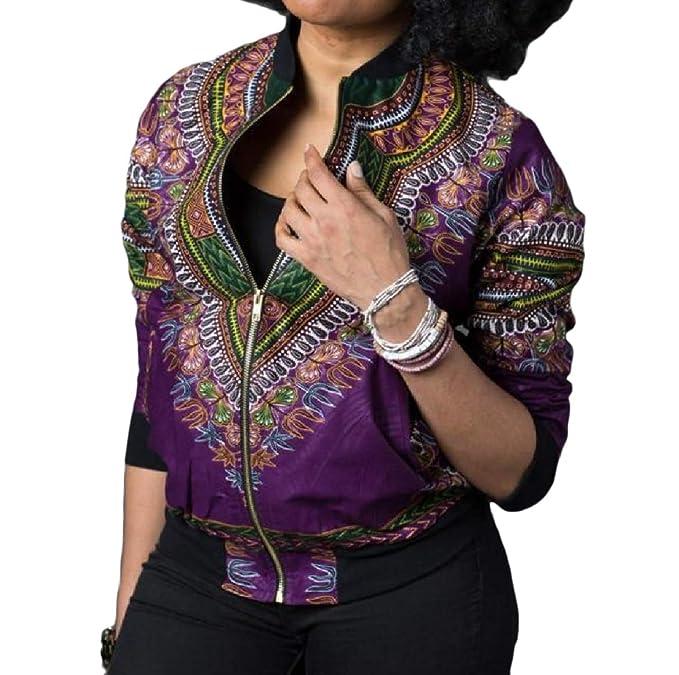 YUNY Women Mini African Slimming Zipper Skinny Dashiki Windbreaker 5 S