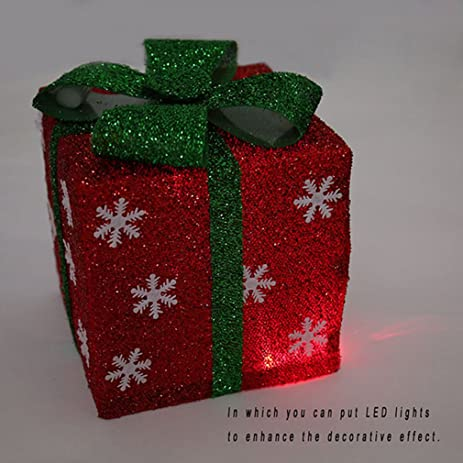 shungho christmas gift boxes decoration snowflake lighted sparkling christmas gift boxes presents outdoor christmas decor