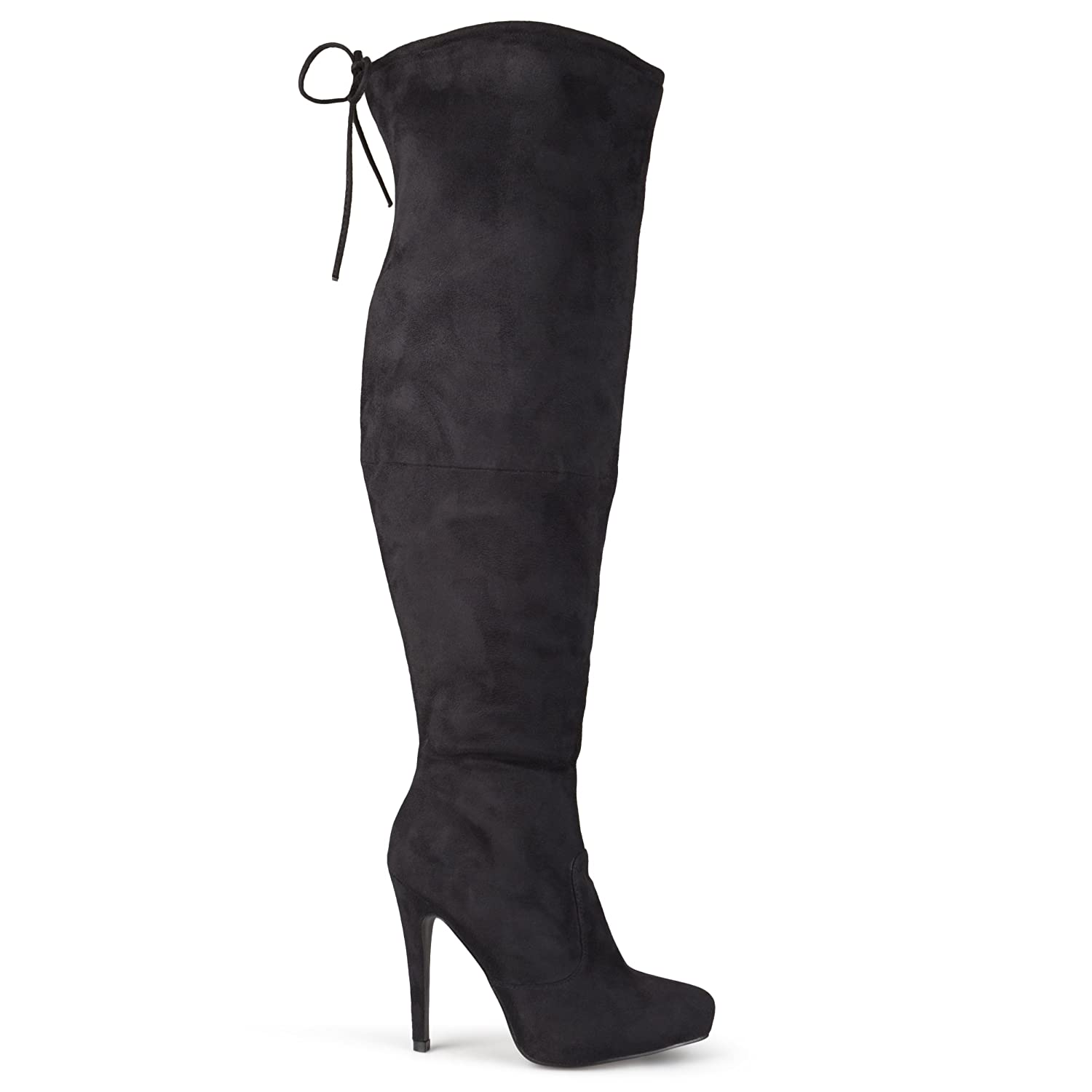 black over the knee high heel boots yu boots. Black Bedroom Furniture Sets. Home Design Ideas