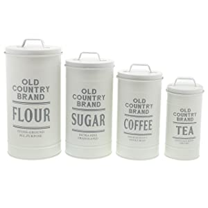 Barnyard Designs Decorative Nesting Kitchen Canisters with Lids Galvanized White Metal Rustic Vintage Farmhouse Country Decor for Flour Sugar Coffee Tea Storage (Large Set of 4)