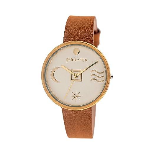 Reloj Bilyfer para Mujer con Correa en Marron y Pantalla en Dorado 1F661-D: Amazon.es: Relojes