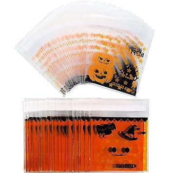Jovitec 200 Piezas de Bolsa de Dulces Autoadhesivas de Halloween Bolsa de Galletas Transparente Bolsa de Celofán de Caramelos para Materiales de Regalo de ...