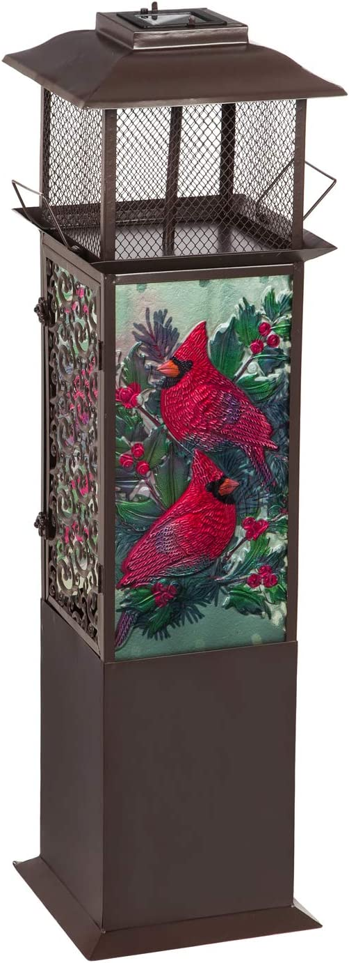 Evergreen Garden Beautiful Cardinals with Spruce and Berries Solar Glass Panel Statement Lantern - 9 x 9 x 32 Inches Fade and Weather Resistant Indoor/Outdoor Decoration for Homes, Yards and Gardens
