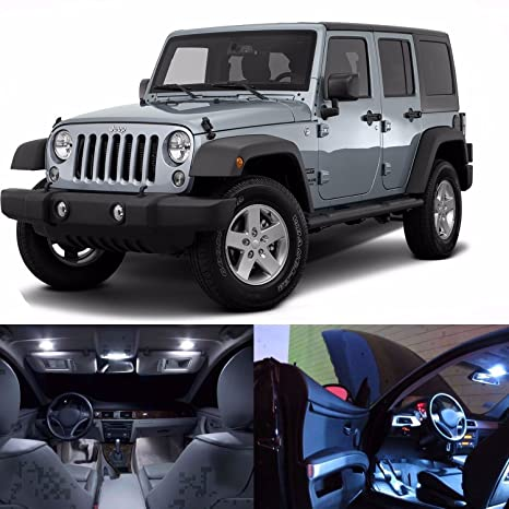 LED White Lights Interior Package Kit For Jeep Wrangler JK 4 Door   16 LEDs