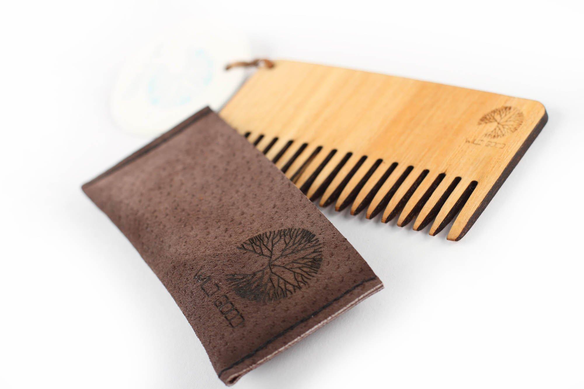 Natural wooden moustache comb