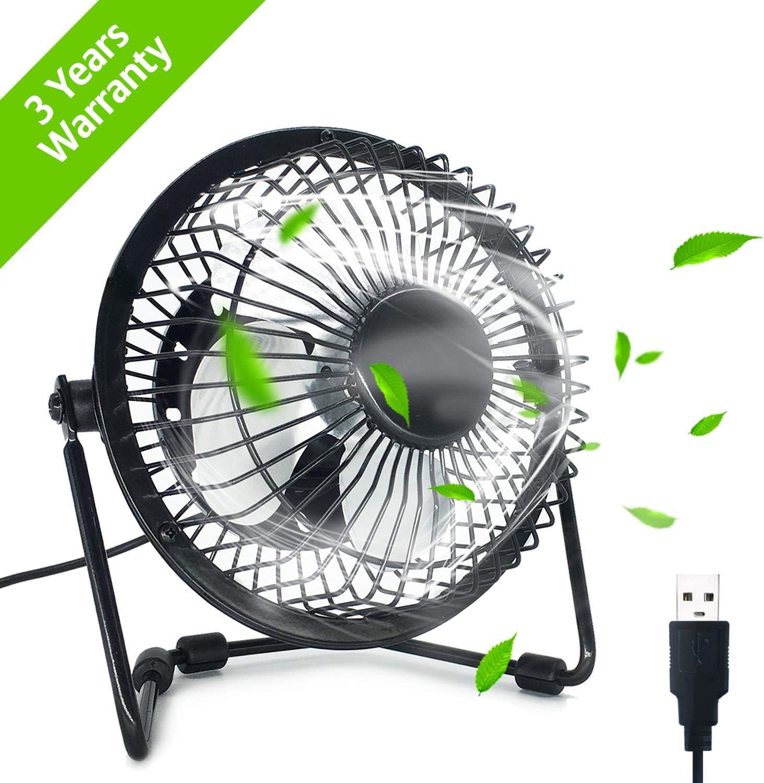EzLife Ventilador USB, Mini Ventilador Portátil 4 Pulgadas Rotación 360º Ajustable Silencioso Ventilador de Mesa para Oficina, Hogar,Viajar, Acampar, Alimentado por USB - Negro