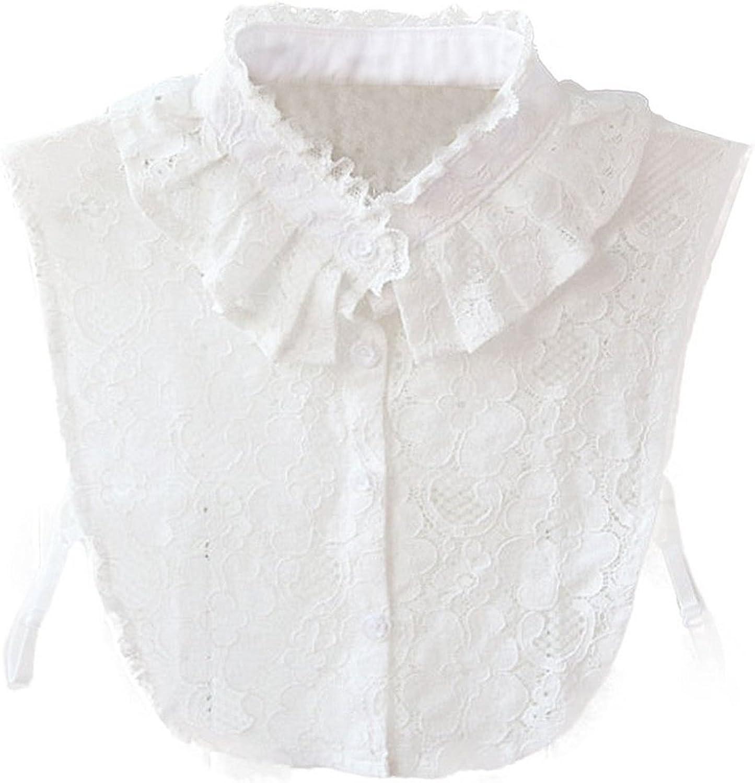 WKTRSM Collar Falso Camisa Desmontable Algodón Cuello Falso Camisa Blusa Elegante para Mujer