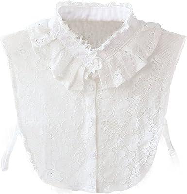 WKTRSM Collar Falso Camisa Desmontable Algodón Cuello Falso Camisa ...