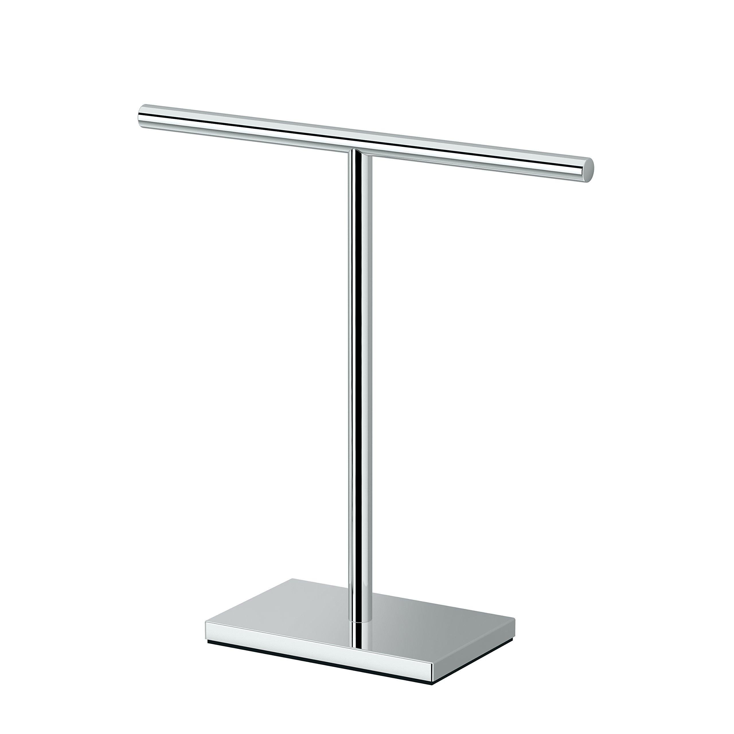 Gatco 1444C Modern Rectangle Base Bathroom Counter Top Hand Towel Holder, 11.13'' Height, Chrome