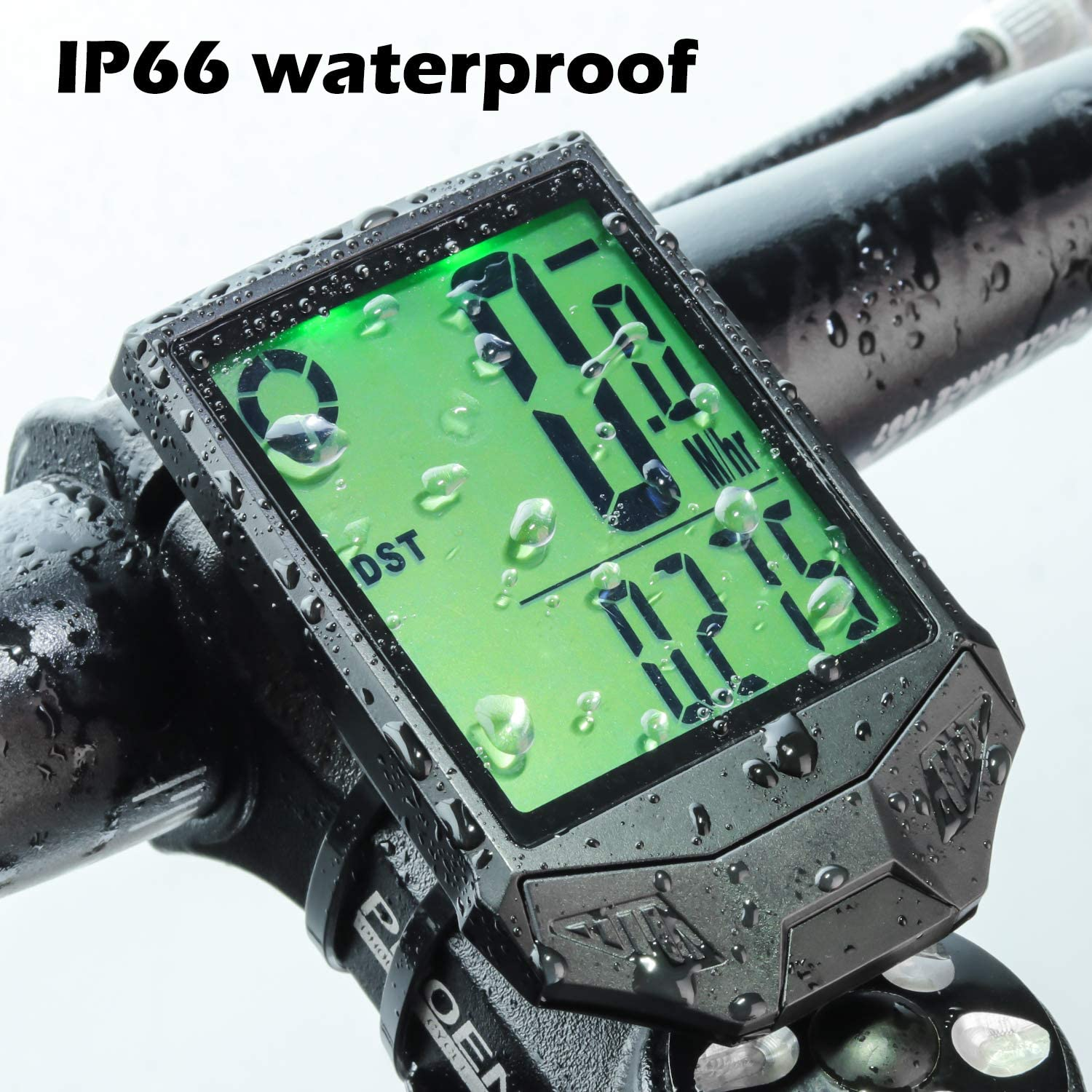 PRUNUS Bike Speedometer and Odometer Wireless Waterproof Bicycle Computer with Digital LCD Display