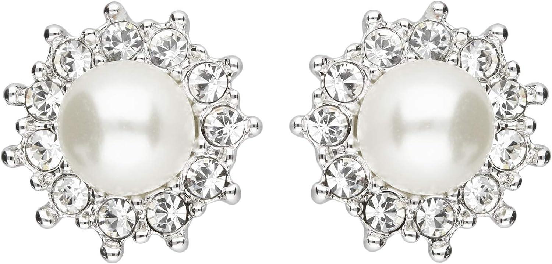 Mya tipo–Pendientes Clips Clip Pendientes con circonitas perla diamantes redondo grande plata blanco perla pendientes myawg de oído de 90