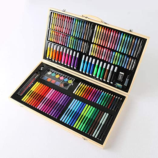 pomelogreem Caja Colores Niños,Set de Pintura Infantil Crayon, Caja de Madera, Pintada, Graffiti, Rompecabezas, Suministros de Arte,Lapices De Colores Niños: Amazon.es: Hogar