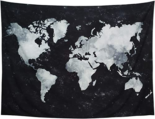 Lahasbja World Tapestry Map Tapestry Starry World Map Tapestry Apartment Essentials Black and White Tapestry Globe Galaxy Constellation Tapestry for Men Dorm Posters XL 70.8 92.5 , Starry Map