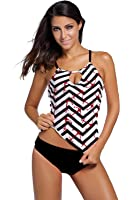 Vsecrety Women's Strappy Banded Printed Tankini Top with Triangle Briefs Swimsuit