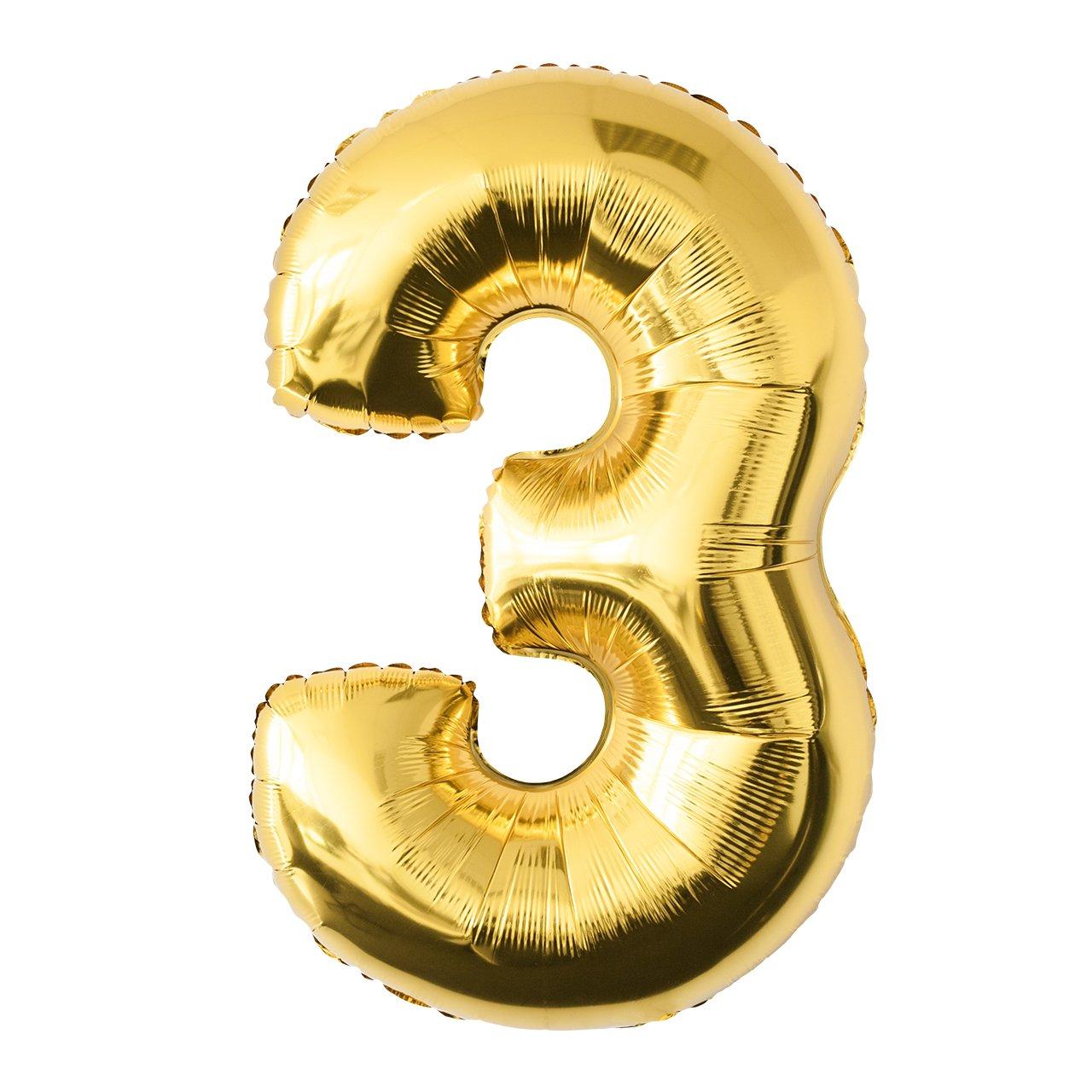 Globo de lámina 3 dorado Número enorme 100 cm rellenable con helio o aero fiesta de cumpleaños