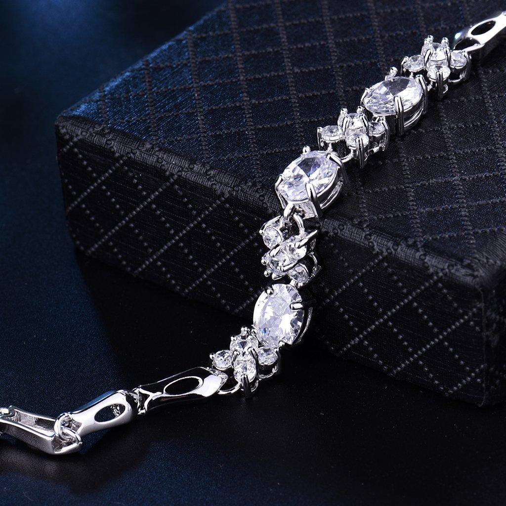 GULICX White Gold Tone White CZ Zircon Dashing Vintage Girl Women Beauteous 7 Bangle Bracelet