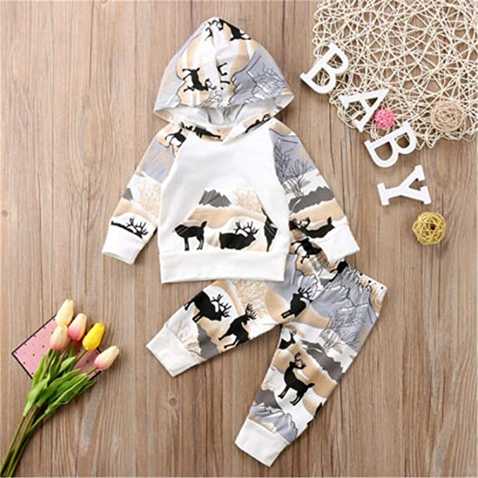 3c0f1a5322 Amazon.com  2PCS Newborn Baby Boys Girls Clothes Set Cotton Deer Hooded Tops  Pants Leggings Outfits Clothes  Clothing