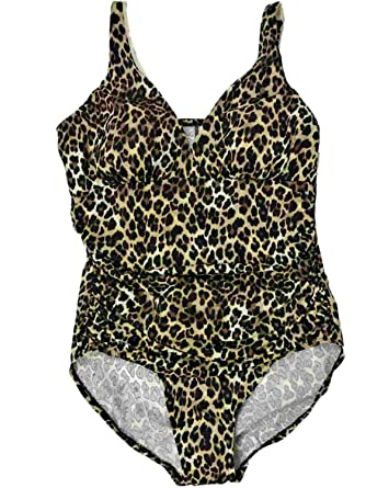 54ab48f8b0f Image Unavailable. Image not available for. Color: Womens Cheetah Leopard  Animal Print One Piece Bathing Suit Slimming Swimsuit 18 Brown