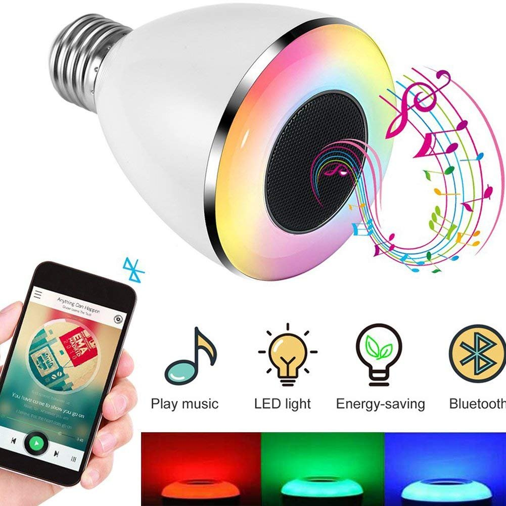 Bluetooth LED Lampe Lautsprecher, Magicpeony 6W E27 RGB Farbwechsel Bluetooth Musik LED Lampe fü r iPhone Android mit APP Steuerung