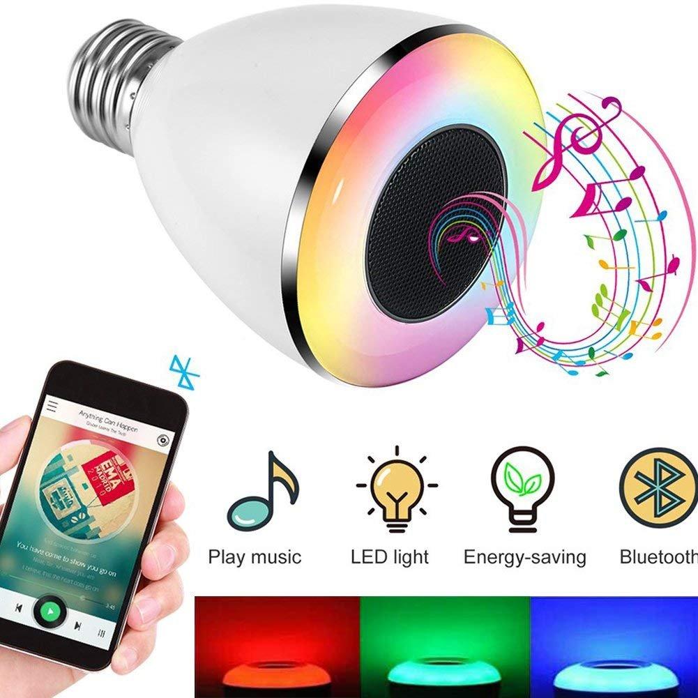 LED Lá mpara Bluetooth Altavoz, Magicpeony Bulb de Mú sica LED E27 Bombilla de luz LED RGB Regulable para Decoració n Aplicació n Gratuita para iOS Android Smartphone