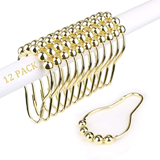 WOOK Double Glide Shower Ring,Stainless Steel Rust Proof Gold Shower Curtain Rings with Double Hooks Set of 12