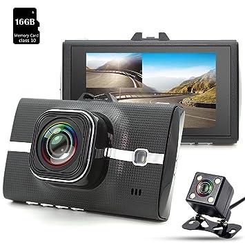 junsun Dash Cam, cámara para coche Full HD 1080p, objetivo gran angular de