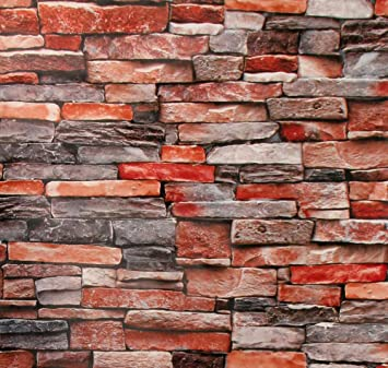 Stone Brick Peel And Stick Wallpaper Brick Stone Wallpaper 3d Faux Adhesive Wallpaper Faux Textured Brick Stone Look Removable Wall Paper Or Shelf Paper 17 71 Wide X 118 Long Amazon Com
