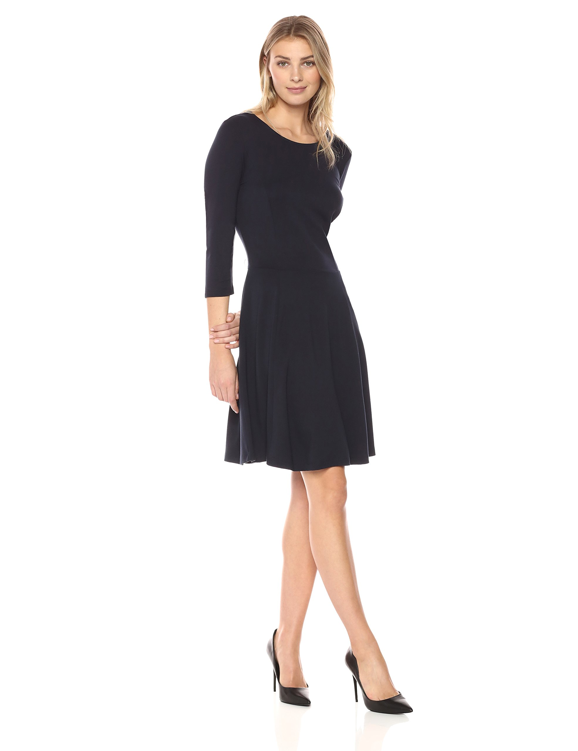 Lark & Ro Women's 3/4 Sleeve Knit Fit and Flare Dress, Black, Medium