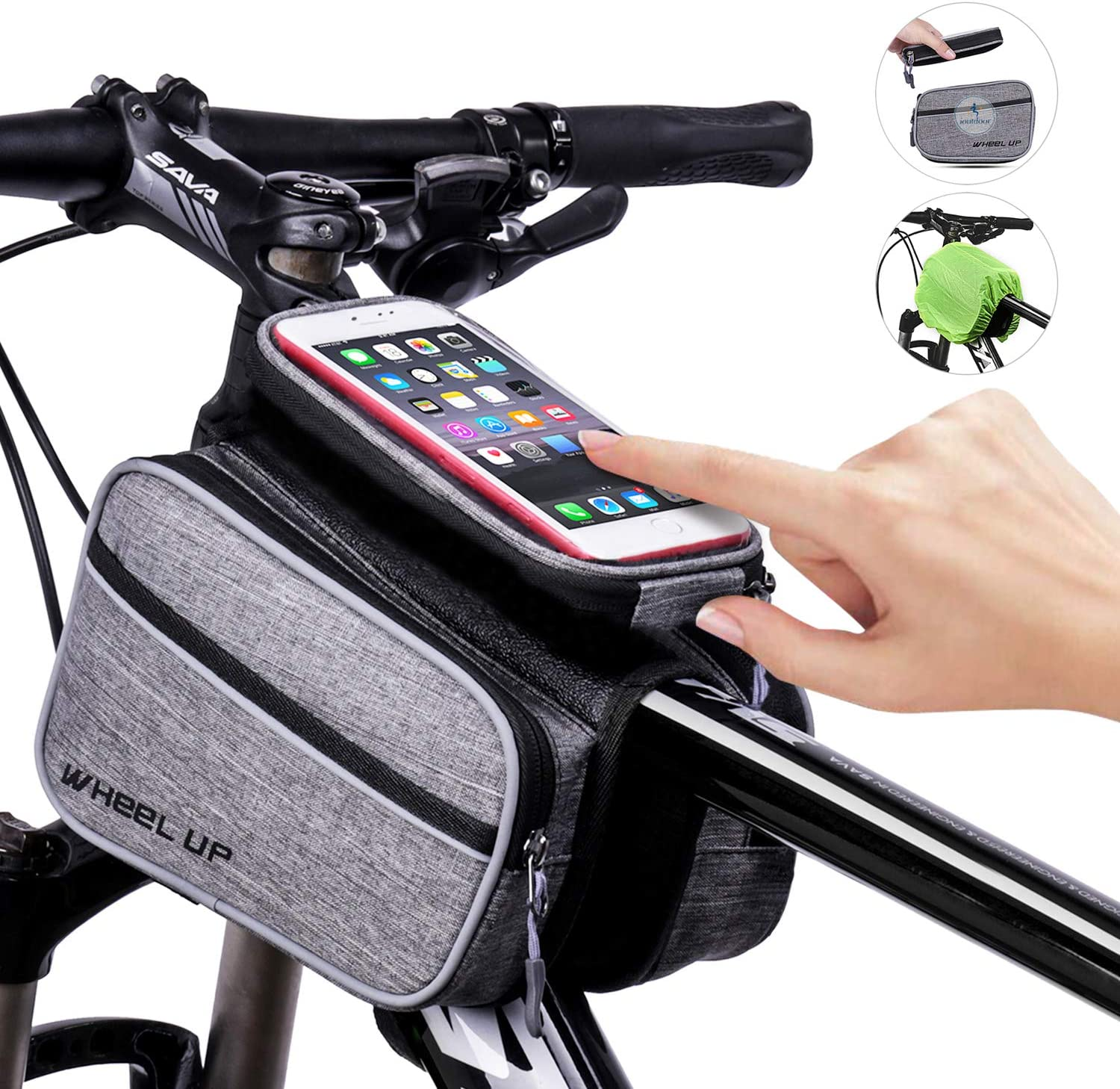 ioutdoor Bike Frame Bag Bike Front Tube Handlebar Bag Bicycle Bag Bike Pouch with Detachable Touch Screen Phone Case for iPhone X 8 7 plus 7 6s 6 plus 5s Samsung