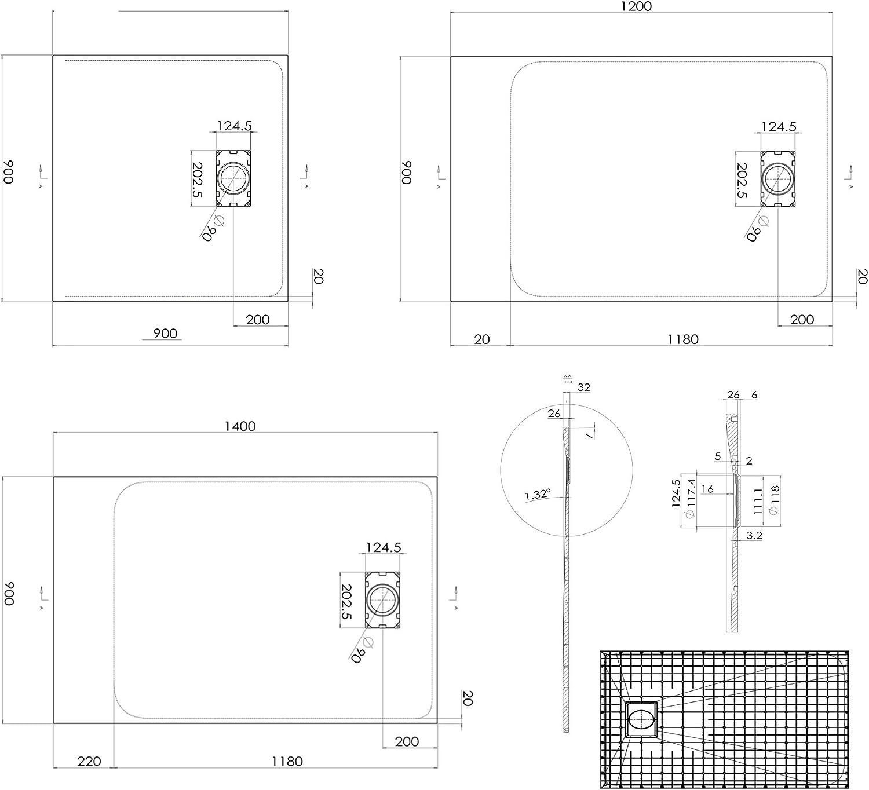 Dimensions et Accessoires s/électionnables Bernstein Badshop Receveur de Douche Rectangle en SMC 3,2 cm de Hauteur Dimension:90x120cm Bonde et syst/ème d /évacuation:sans syst/ème d/évacuation