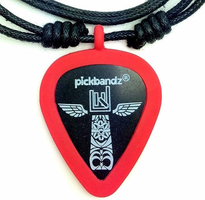 Fire Orange Pickbandz Rope Necklace with Guitar Pick Holder Pendant