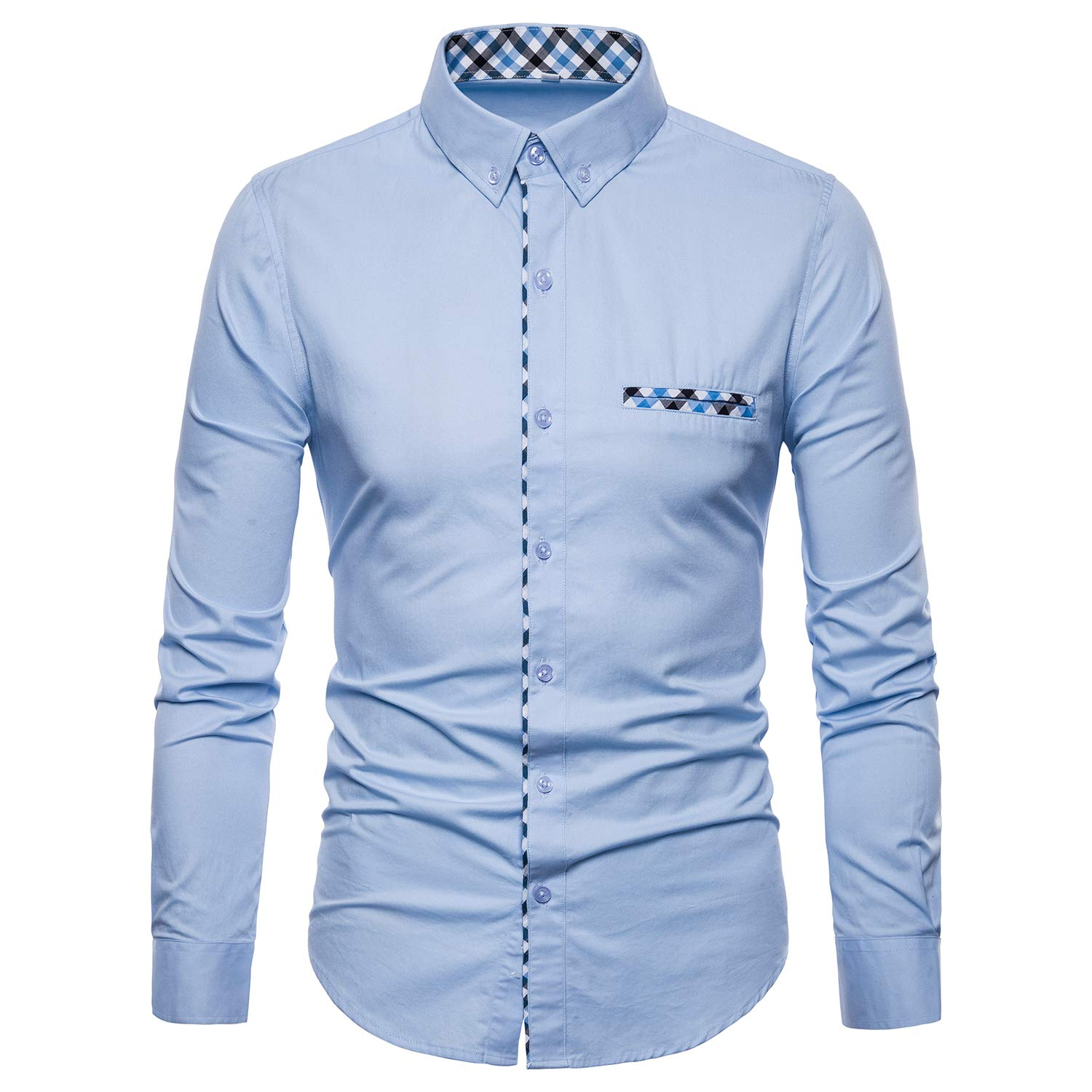 Manwan walk Mens Button Down Dress Shirts Premium Casual Inner Contrast Casual Slim Fit Shirt by Manwan walk