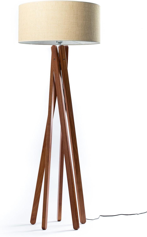 Hochwertige Holz Stativ Stehlampe In Nussbaumfarben