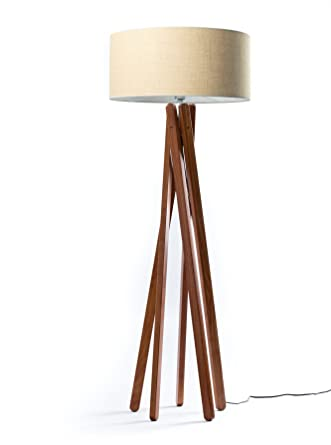 Hochwertige Design Stehlampe Tripod mit gewebtem Stoffschirm in beige und  Stativ/Gestell aus dunklem Holz Echtholz in Nussbaumfarben | H= 160cm | ...