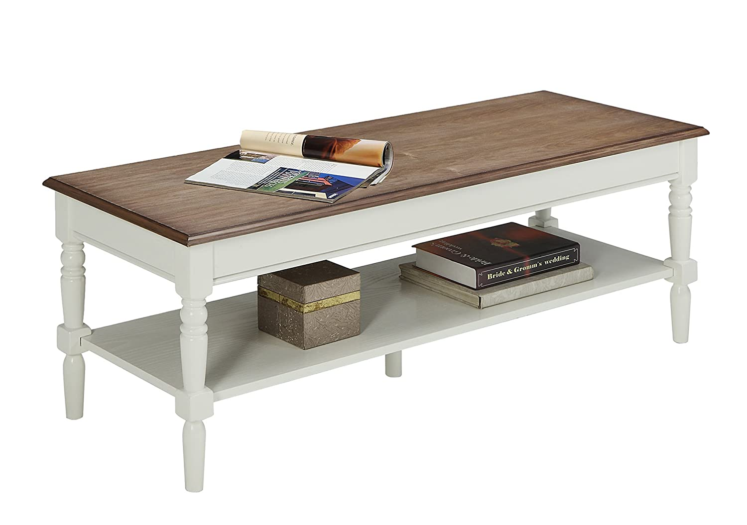 Convenience Concepts French Country Coffee Table, Driftwood White