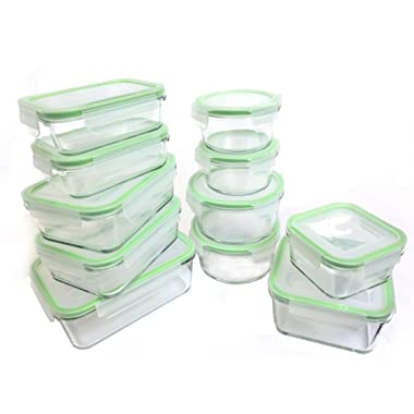 Kinetic 22 Piece (54oz, 35oz, 30oz, 28oz, 15oz, 14oz,13oz) GoGreen Glassworks Oven Safe Glass Food Storage Container Set with Leak Proof Lids; (11 Containers and 11 Lids);55043
