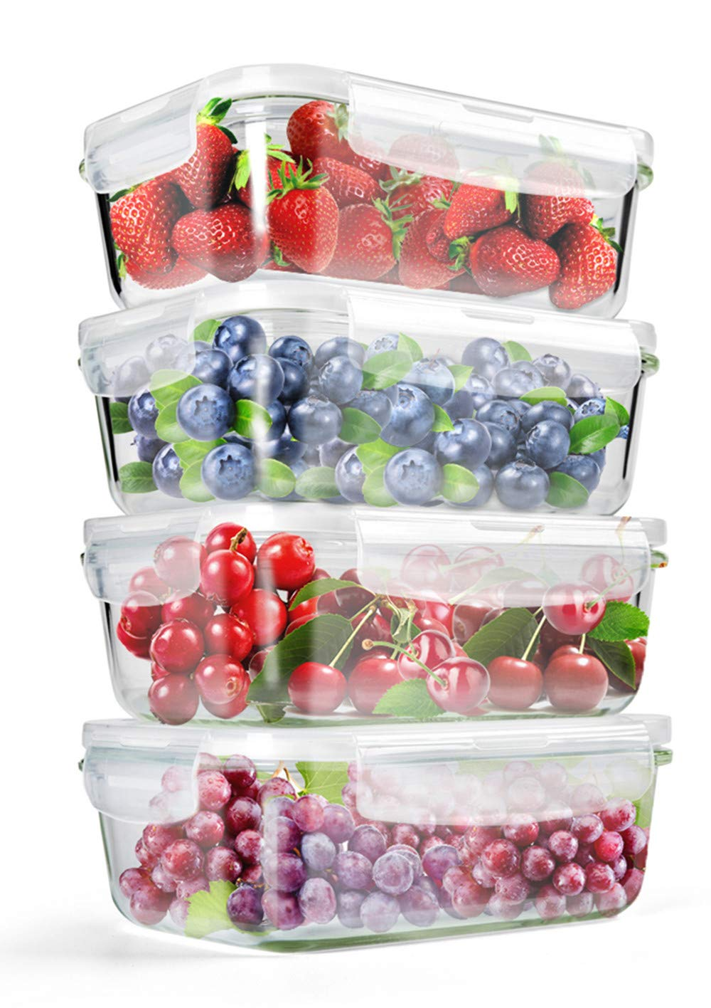 [4-Pack] 29.5 OZ Glass Food Storage Containers - BPA Free Glass Lunch Containers with Lids-Reusable Kitchen Meal Prep Containers Safe for Microwave, Oven or Freezer