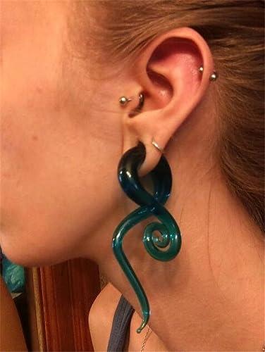 Amazon.com: Piercing oído estiramiento vidrio espiral ...