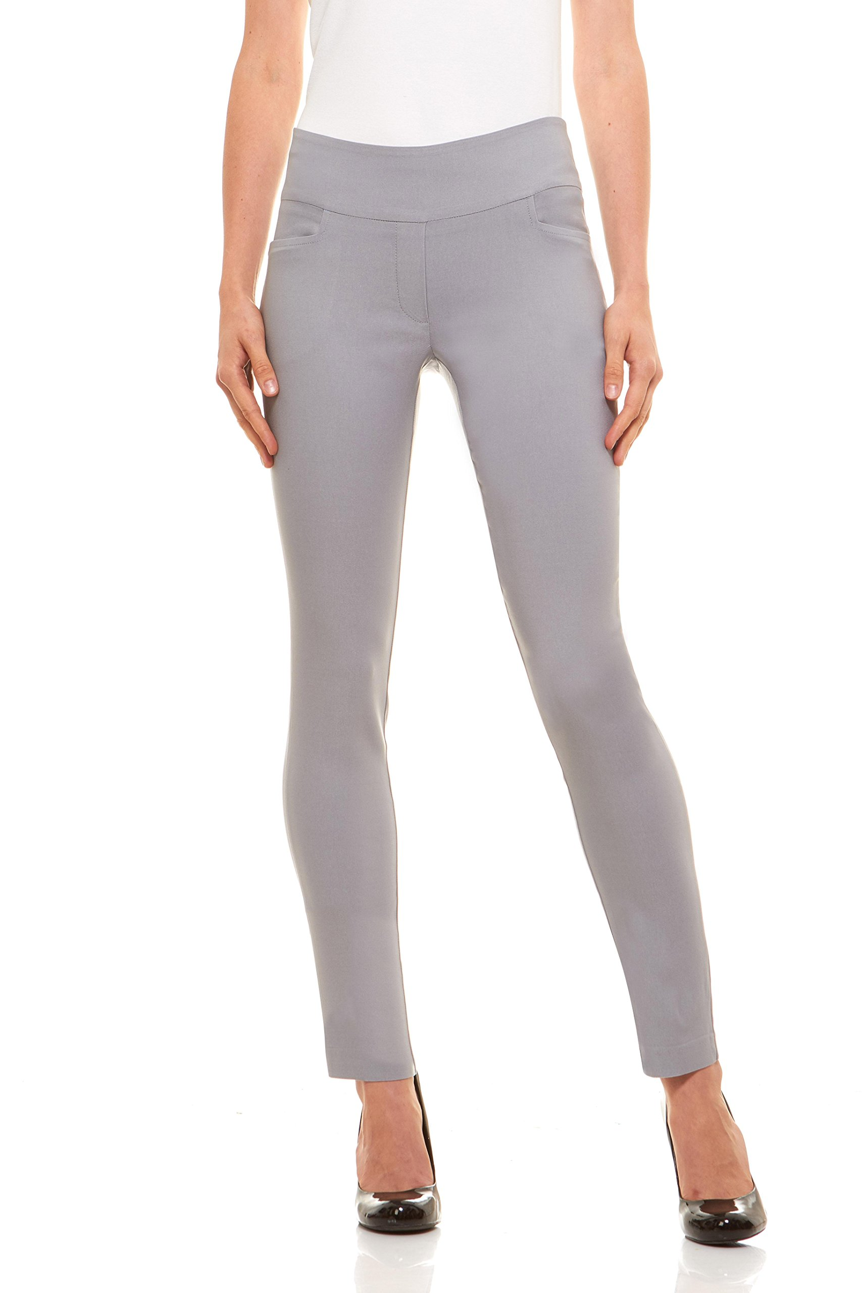 Velucci Womens Straight Leg Dress Pants - Stretch Slim Fit Pull On Style, Light Grey-L
