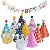 Diealles Striscione di Buon Compleanno con 9 Cappelli di Compleanno e 2 Coronamenti di Compleanno per Decorazioni per Feste di Compleanno per Bambini