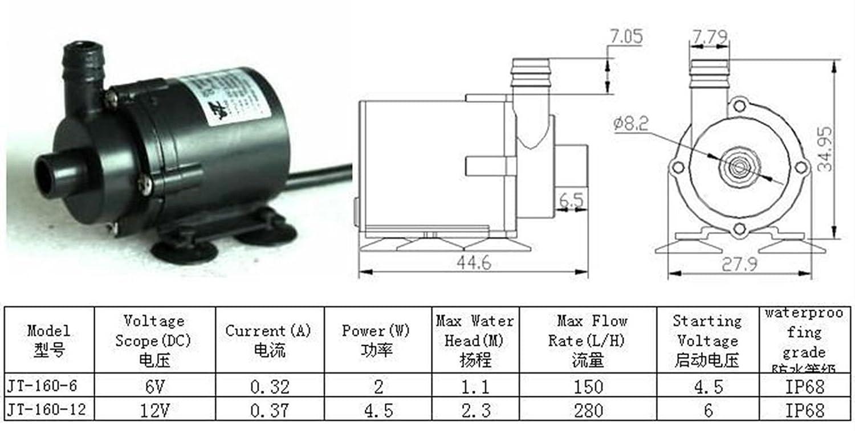 Q-BAIHE JT-160-12 Mini Brushless Water Pump Amphibious 6V-12V ...