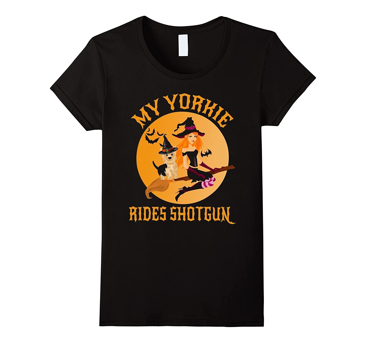 Womens My Yorkie Rides Shotgun Shirt-Great Gifts For Halloween-Art