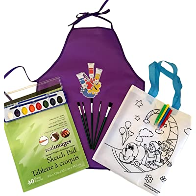 Art Supplies for Kids Fun Craft Kit Including Apron, Paint, Brushes, Paper Pad and Tote Kit with Markers Great Way to Keep Busy During Quarintine: Toys & Games