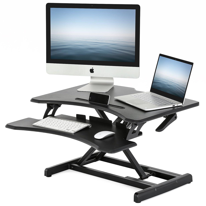 FITUEYES スタンディングデスク 昇降式デスク リフティングテーブル キーボードトレイ付き 幅769mm 高さ調整可能 ブラックSD308001WB B07DRG7Q5LSD308001WB