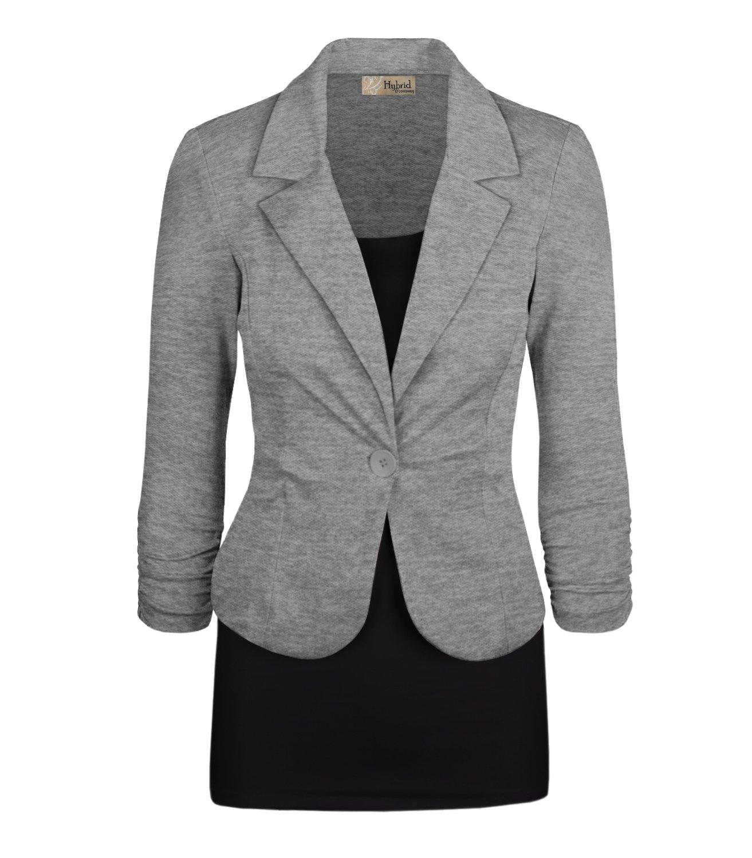 HyBrid & Company Women's Casual Work Office Blazer Jacket JK1131X Heather Grey 2X