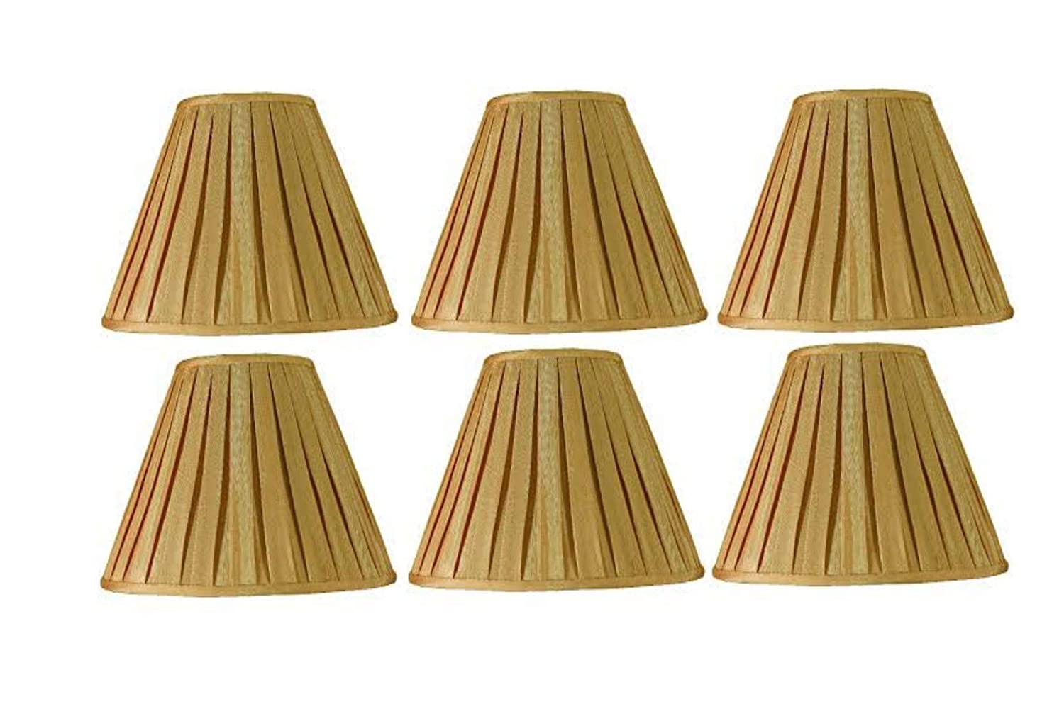 Set of Six Upgradelights 5 Inch Pleated Empire Clip On Chandelier Lamp Shade in Khaki Silk 3.25x5x4