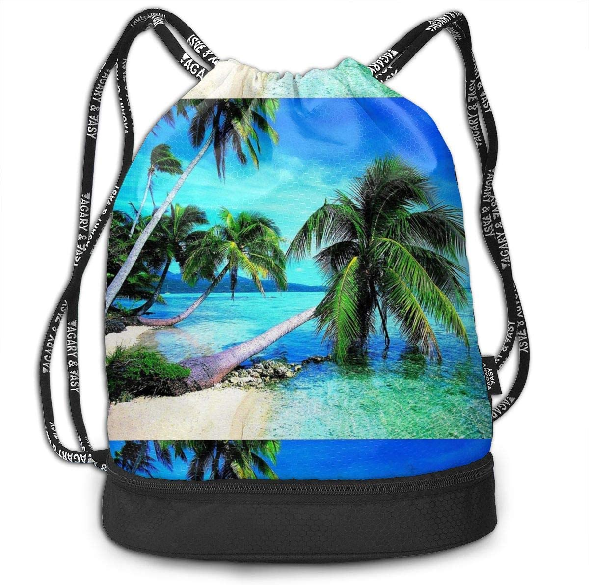 Tropical Palms Trees Navy Blue Ocean Beach Multifunctional Bundle Backpack Shoulder Bag For Men And Women