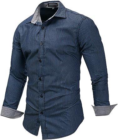 J-TUMIA Camisas Hombre Slim Fit Transpirable Camisa de Vestir a Rayas para Hombre, Camisa de Manga Larga de algodón, Cuello Alto y Corte Regular, Tops de Cuello Moda de Ocio: Amazon.es: Hogar
