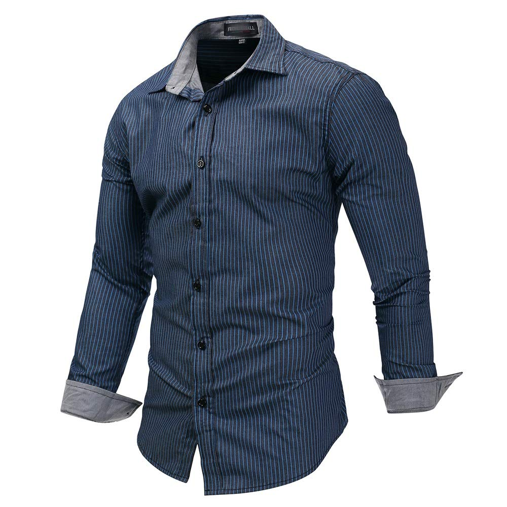 43b44948a3 Navy blueee Men's Shirts Fashion Leisure Men's Men's Men's Stripe Dress  Shirt-Cotton Long Sleeve Shirt-Regular Fit Button Down Lapel Collar Tops  Slim Fit ...
