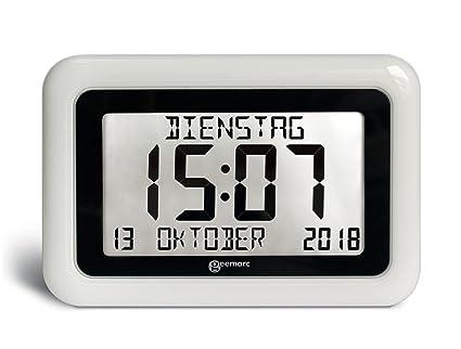 Geemarc VISO10_WH_VDE Reloj LCD, Pantalla Grande Fecha y la Hora